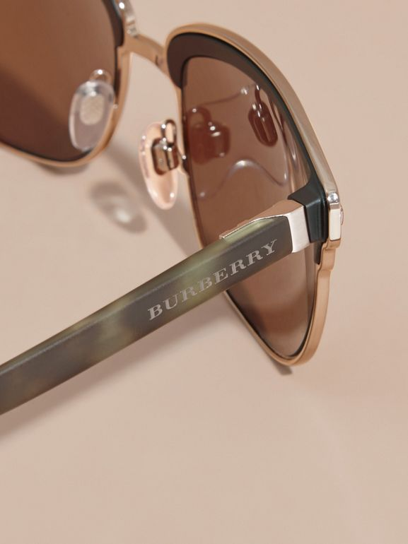 Textured Front Square Frame Sunglasses in Brown - Men | Burberry United States - cell image 1