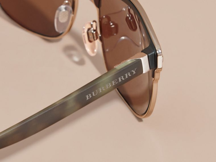 Textured Front Square Frame Sunglasses in Brown - Men | Burberry Singapore - cell image 1
