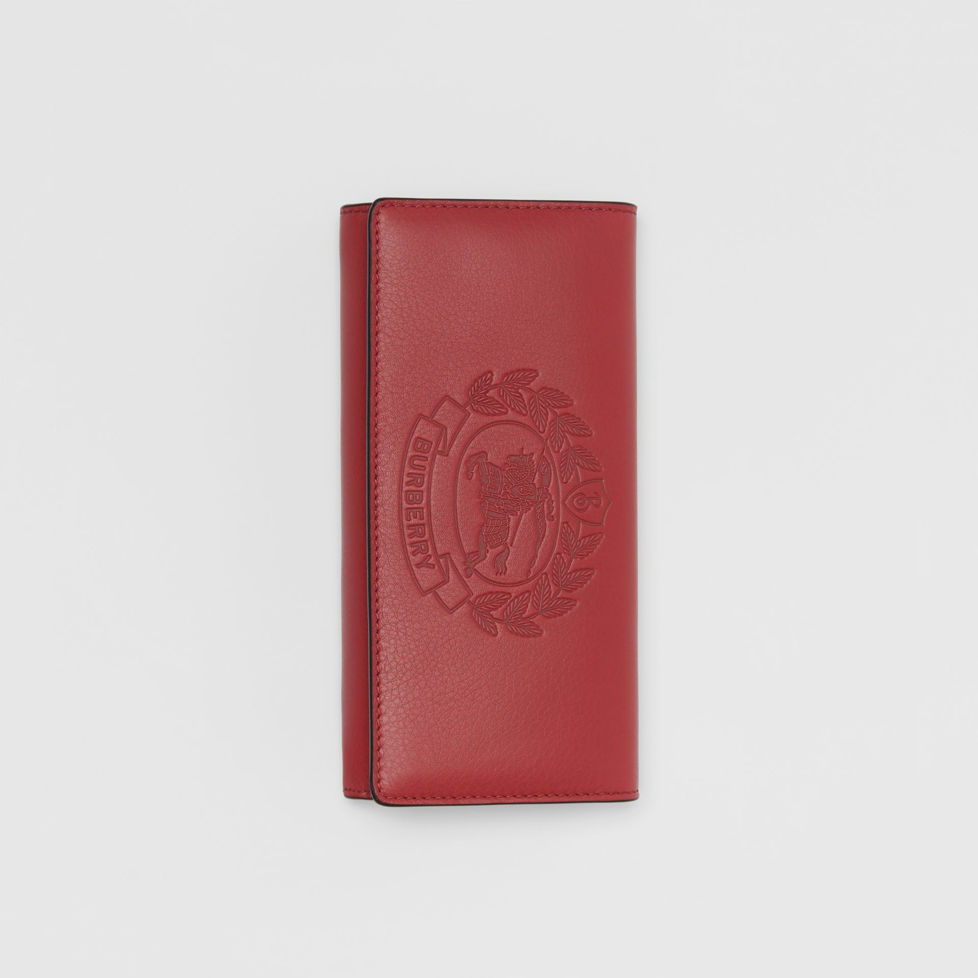 Embossed Crest Two-tone Leather Continental Wallet in Crimson - Women | Burberry Australia - gallery image 3