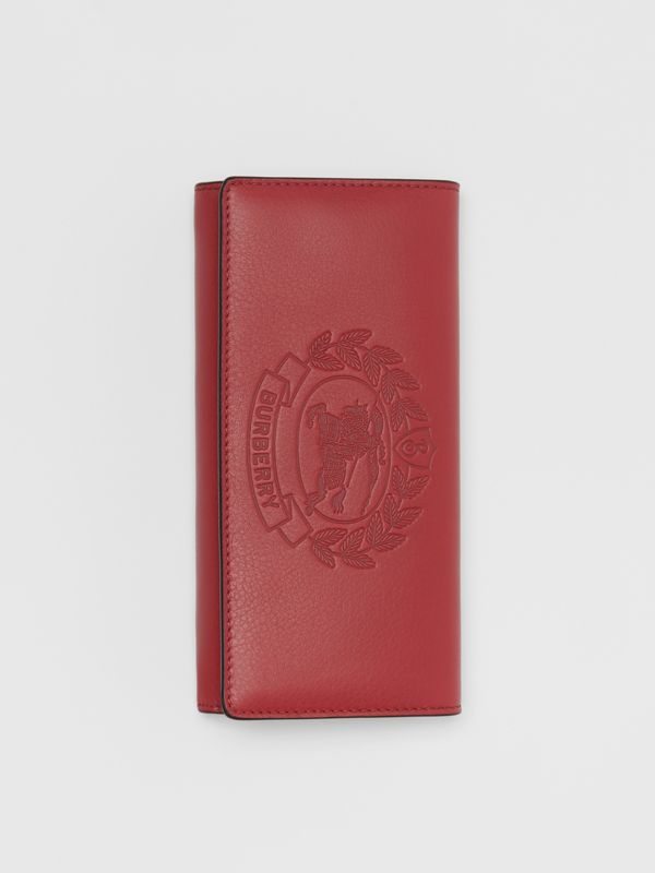 Embossed Crest Two-tone Leather Continental Wallet in Crimson - Women | Burberry United States - cell image 3