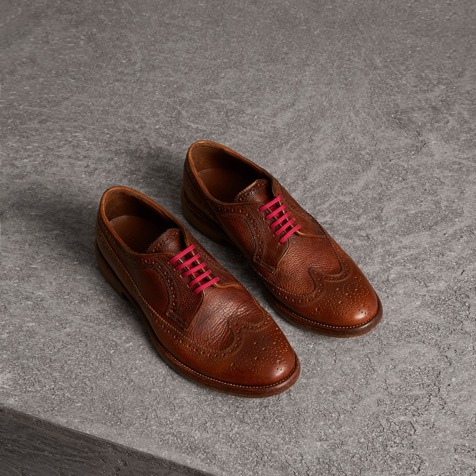 Grainy Leather Brogues with Bright Laces in Vintage Chestnut - Men | Burberry United States - gallery image 0