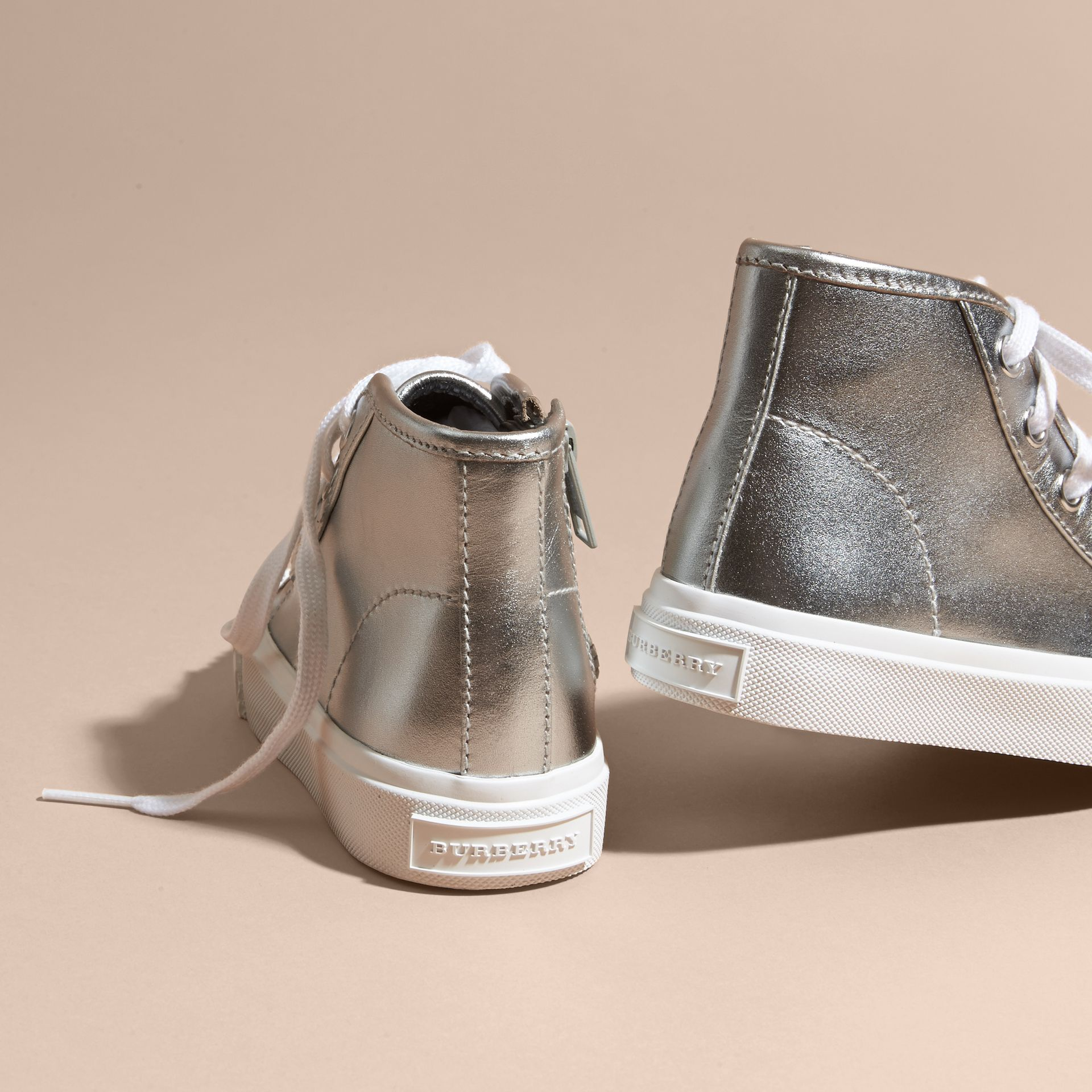 Silver Metallic Leather High-top Trainers - gallery image 4