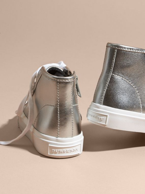 Silver Metallic Leather High-top Trainers - cell image 3