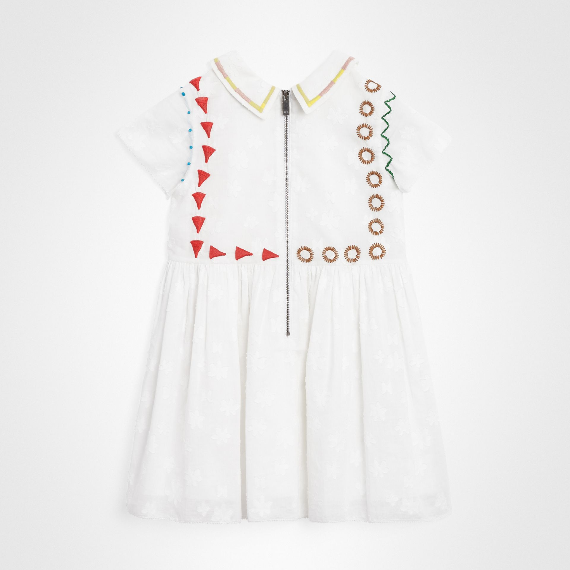 Peter Pan Collar Embroidered Cotton Dress in White | Burberry - gallery image 3