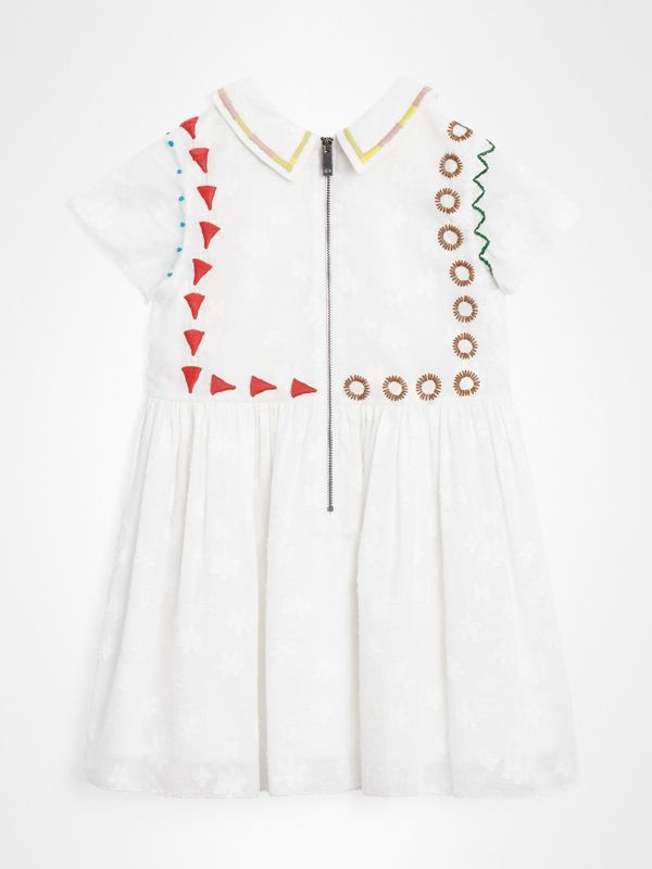 Peter Pan Collar Embroidered Cotton Dress in White | Burberry - cell image 3