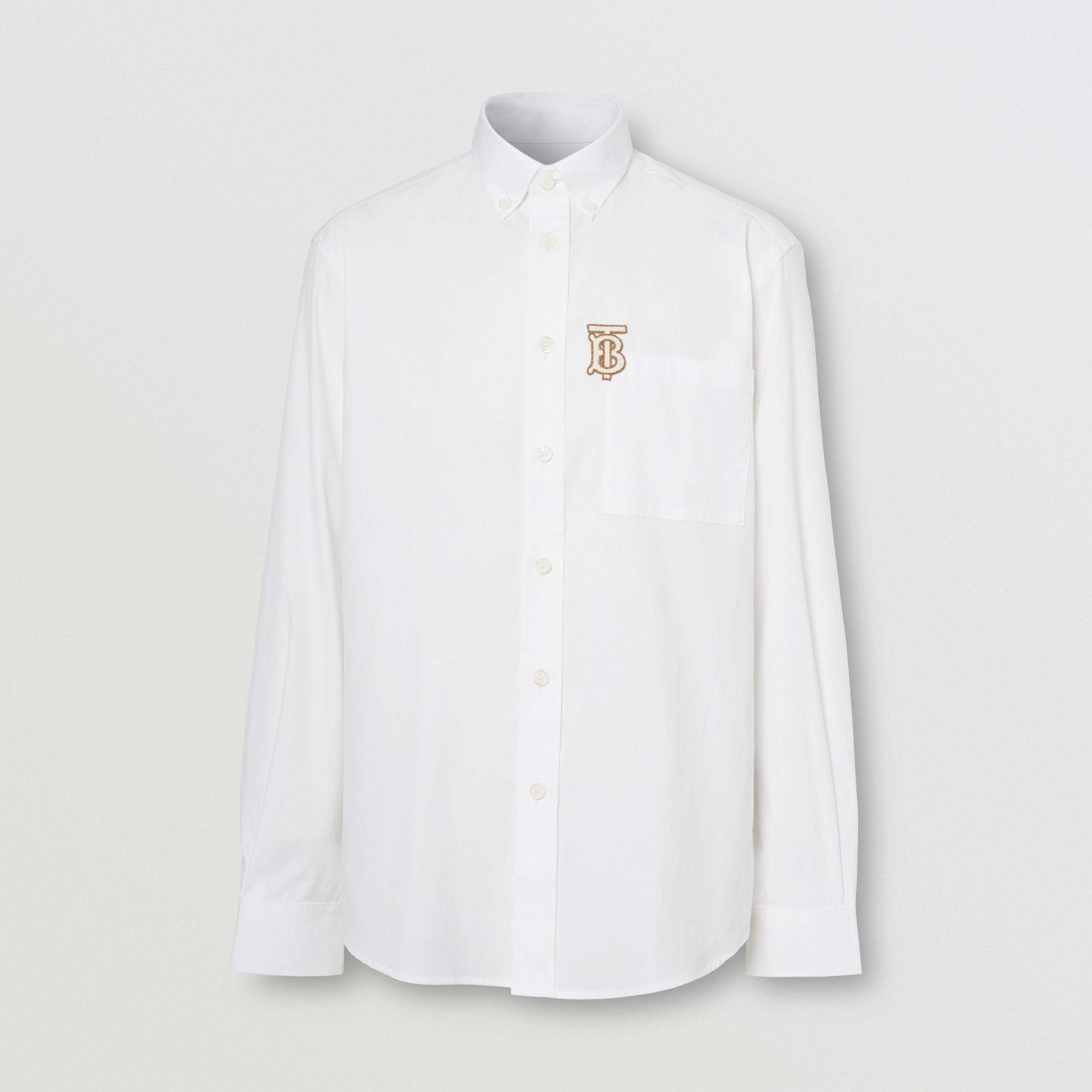 Monogram Motif Stretch Cotton Poplin Shirt in White - Men | Burberry - 4