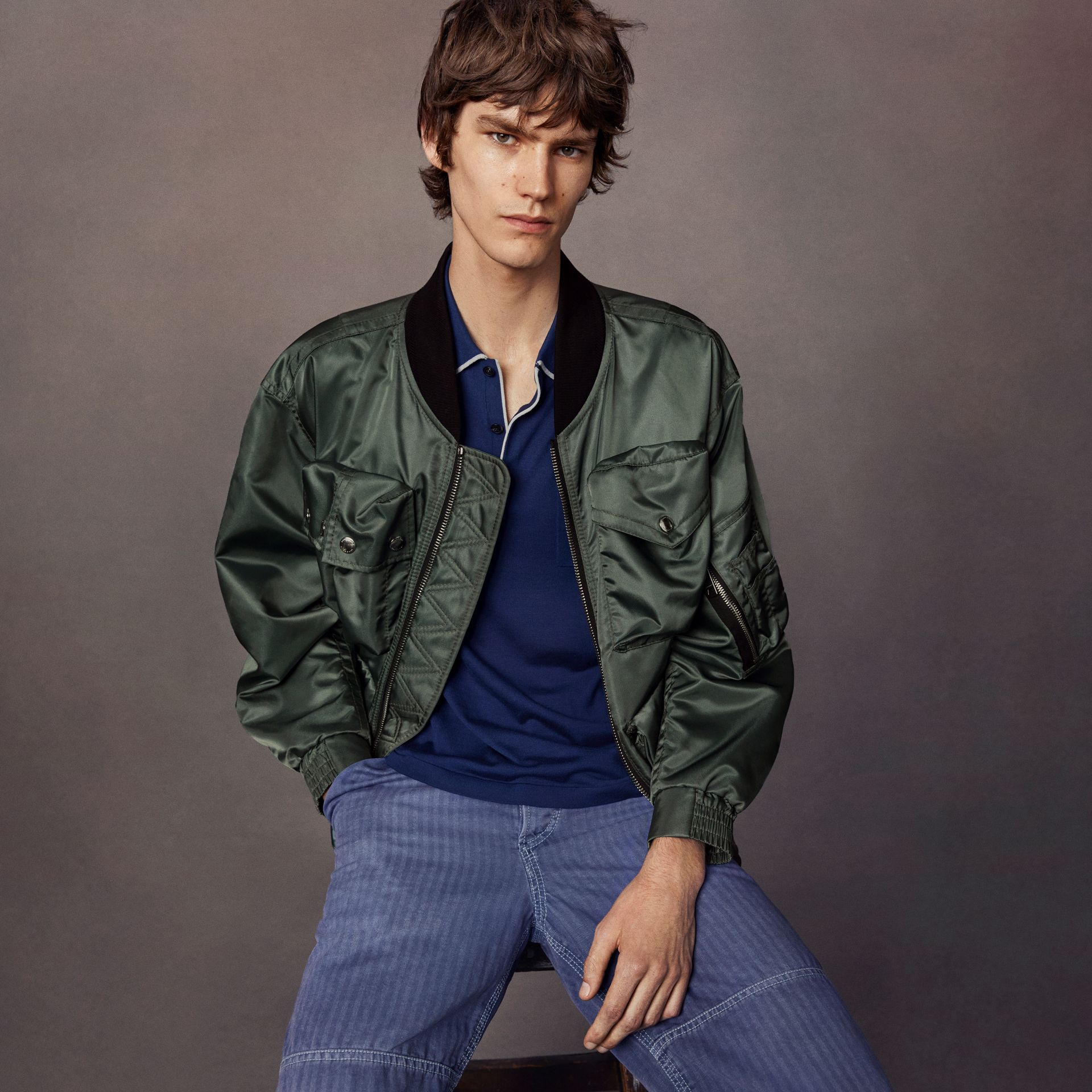 Contrast Collar Lightweight Flying Jacket in Storm Green - Men | Burberry - gallery image 7