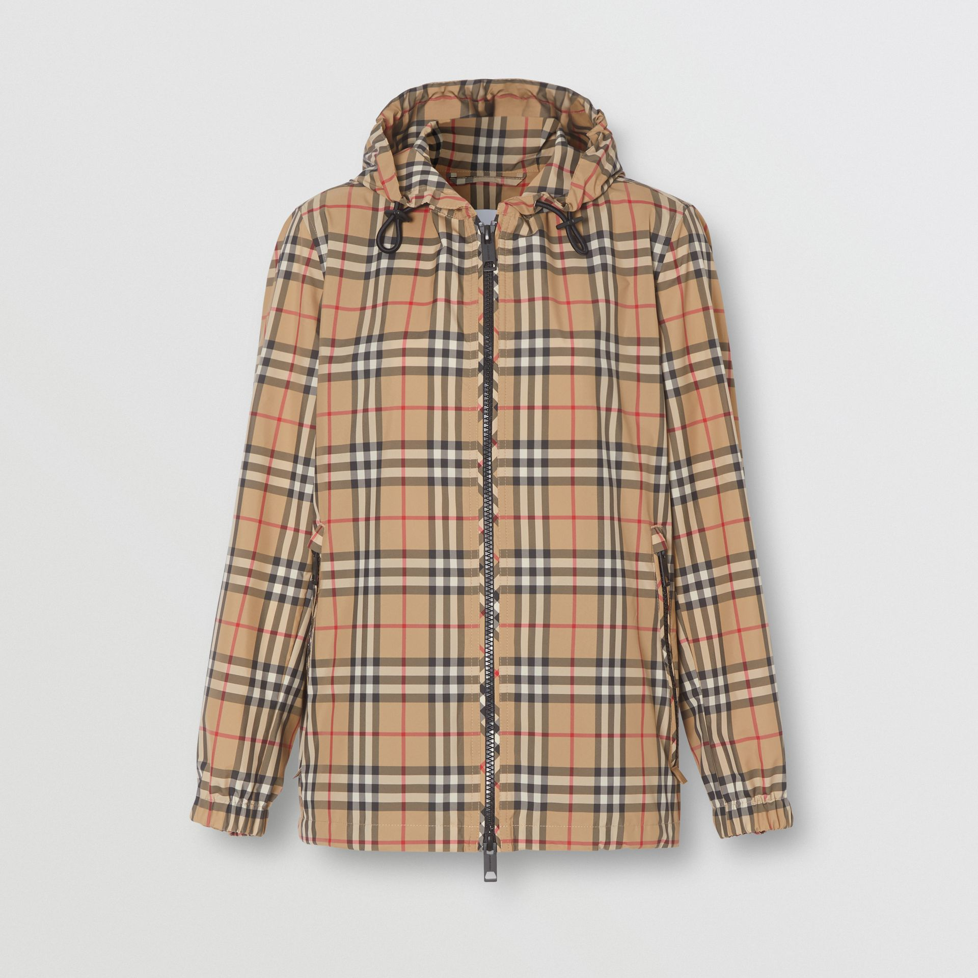 Vintage Check Recycled Polyester Hooded Jacket in Archive Beige - Women | Burberry - gallery image 3