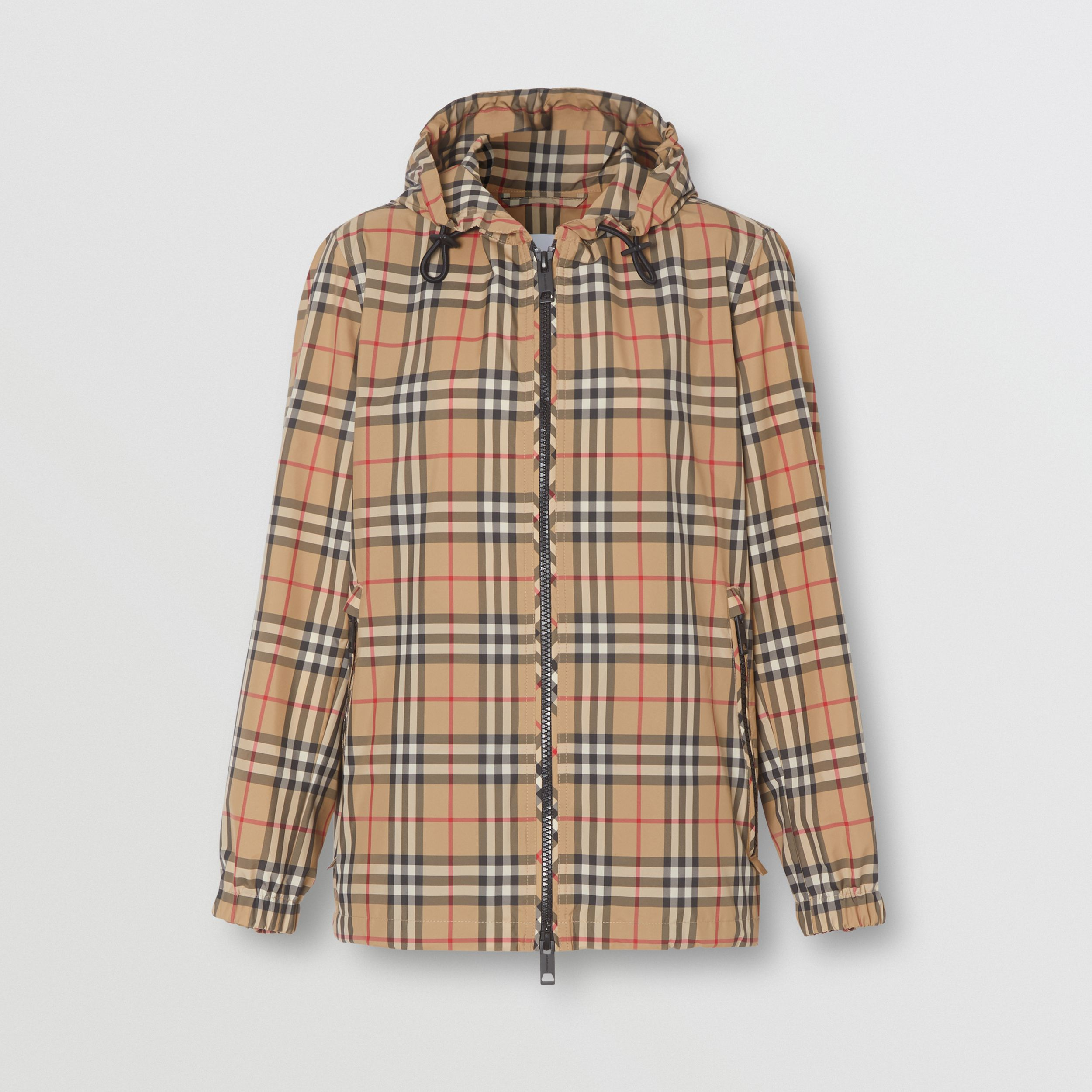 Vintage Check Recycled Polyester Hooded Jacket in Archive Beige - Women | Burberry - 4