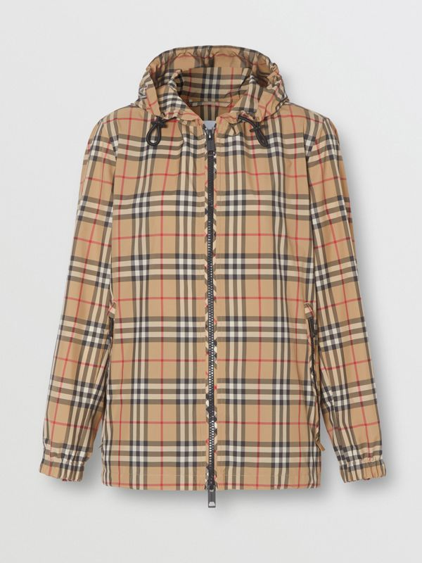 Vintage Check Recycled Polyester Hooded Jacket in Archive Beige - Women | Burberry - cell image 3