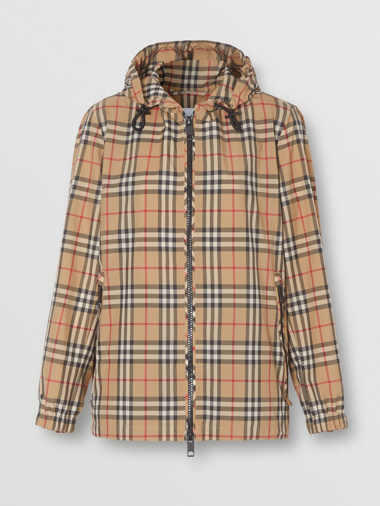 Vintage Check Recycled Polyester Hooded Jacket (Archive Beige)