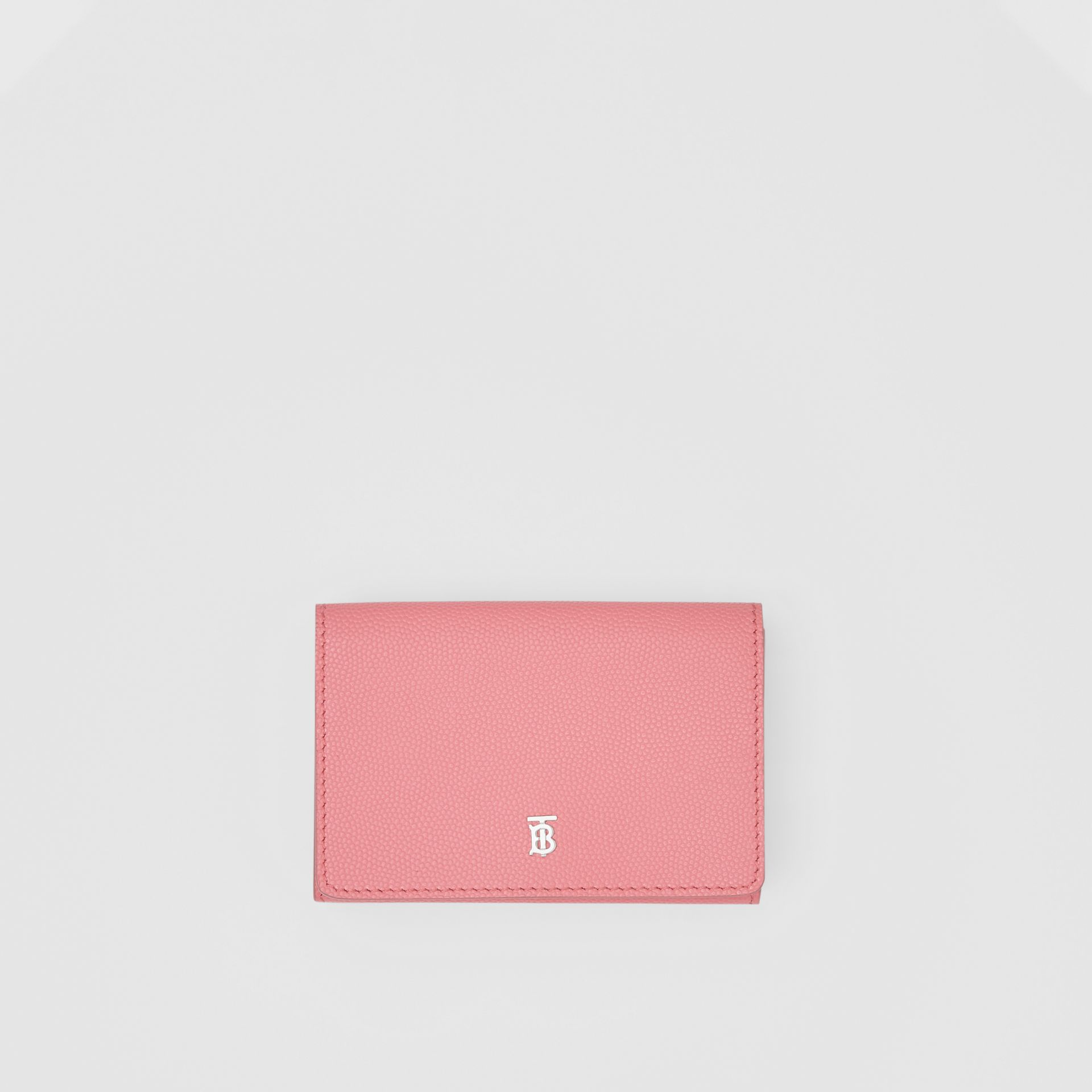 Small Grainy Leather Folding Wallet in Candy Floss/palladio - Women | Burberry - gallery image 0