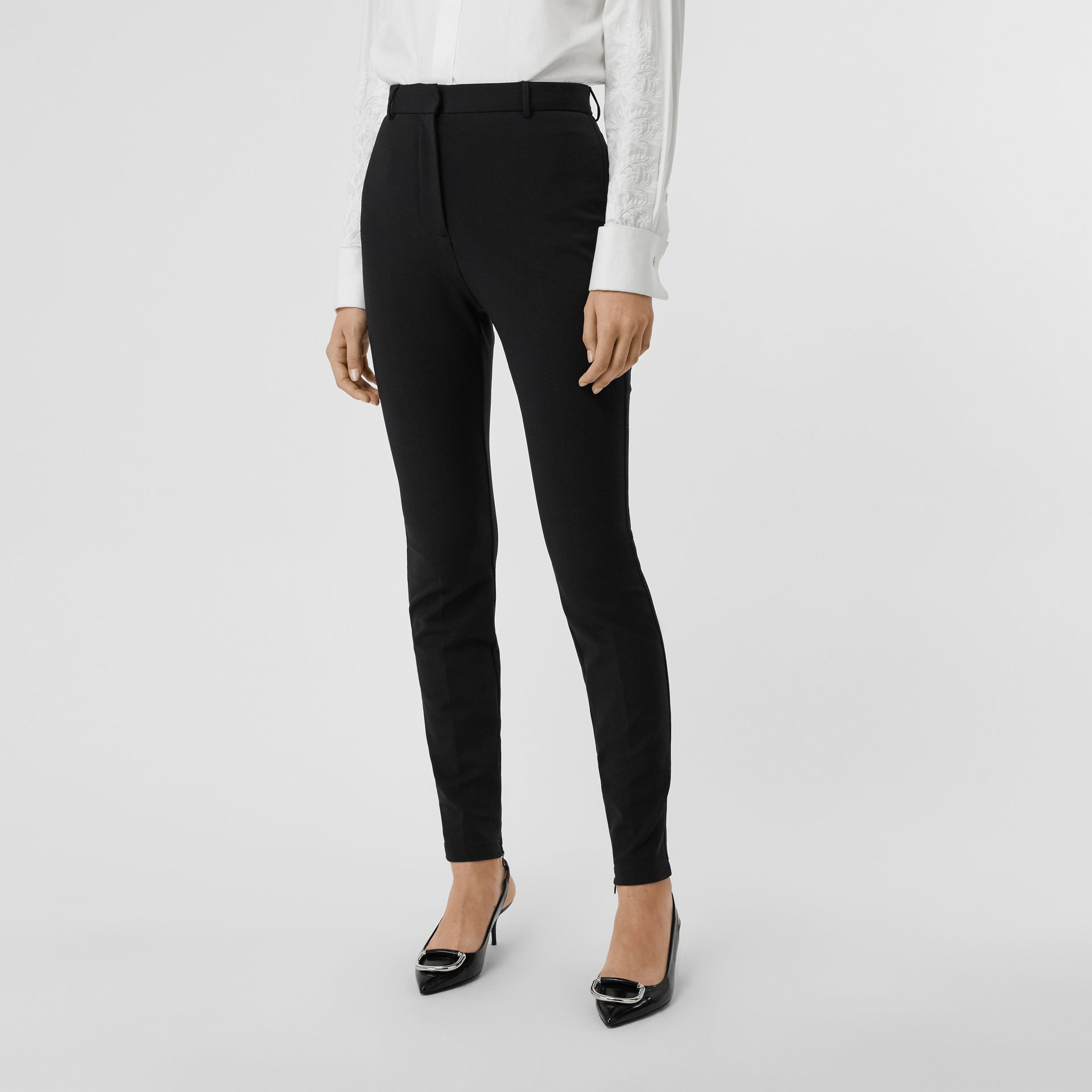 Stretch Jersey Tailored Trousers in Black - Women | Burberry - gallery image 4