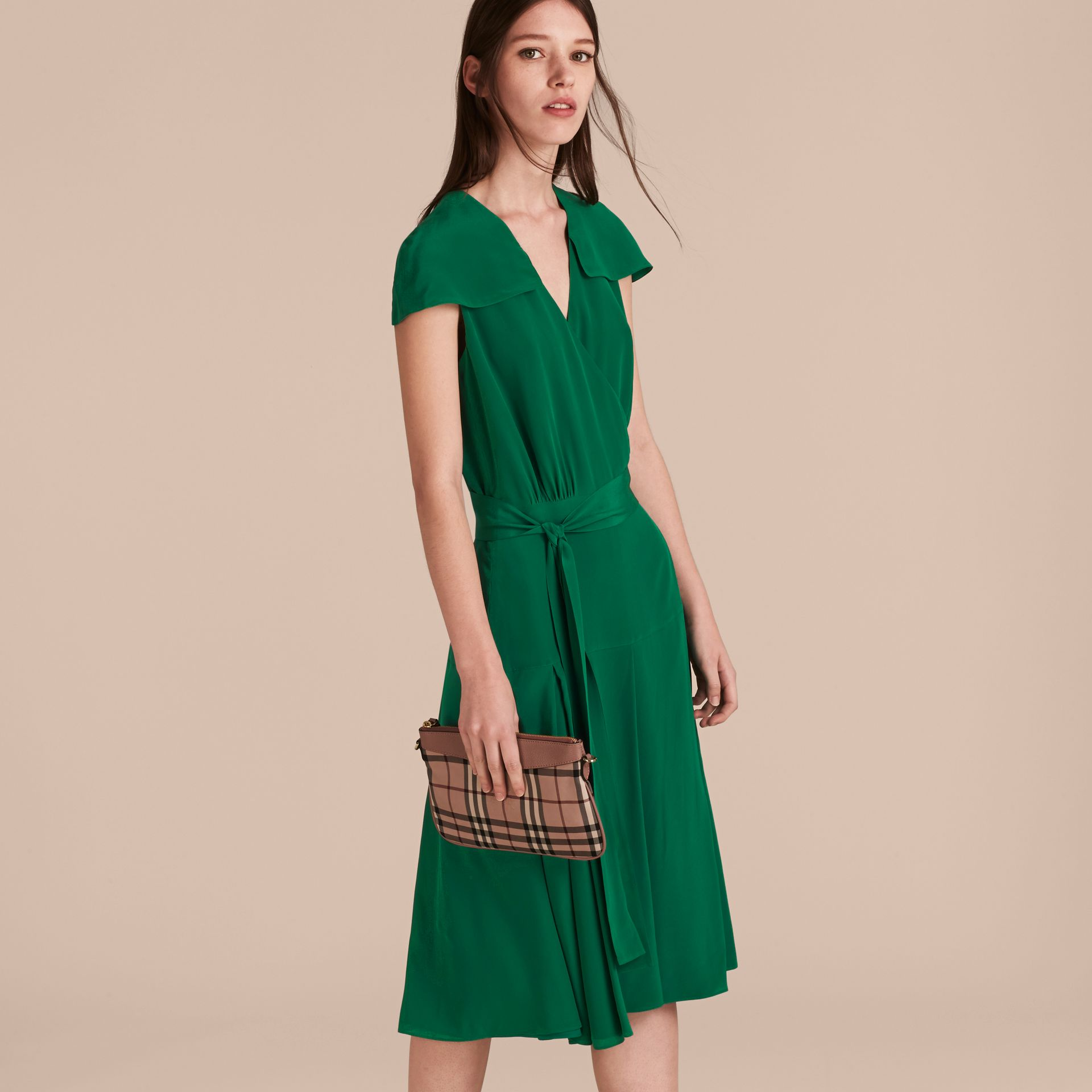Kelly green Cape Detail Silk Wrap Dress Kelly Green - gallery image 6