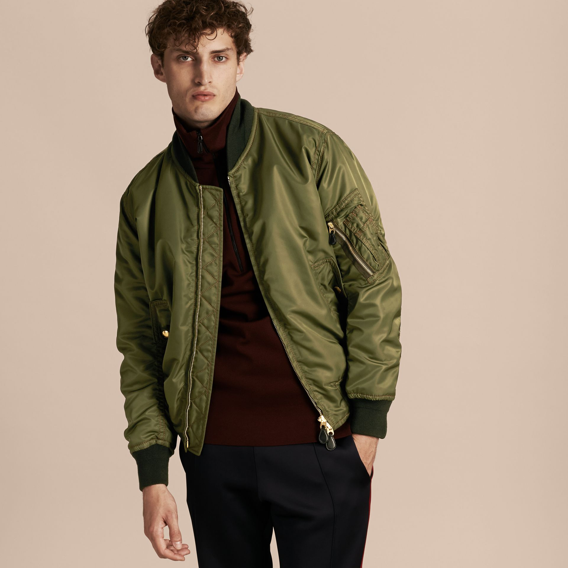 Light military green Oversize Bomber Jacket - gallery image 7