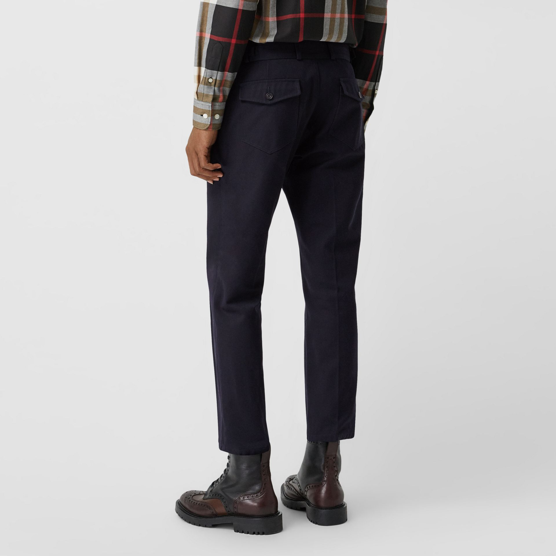Cotton Blend Twill Cropped Chinos in Dark Navy - Men | Burberry United Kingdom - gallery image 2