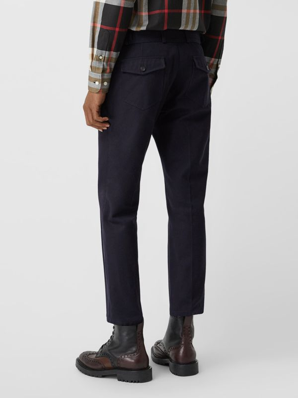 Cotton Blend Twill Cropped Chinos in Dark Navy - Men | Burberry Canada - cell image 2