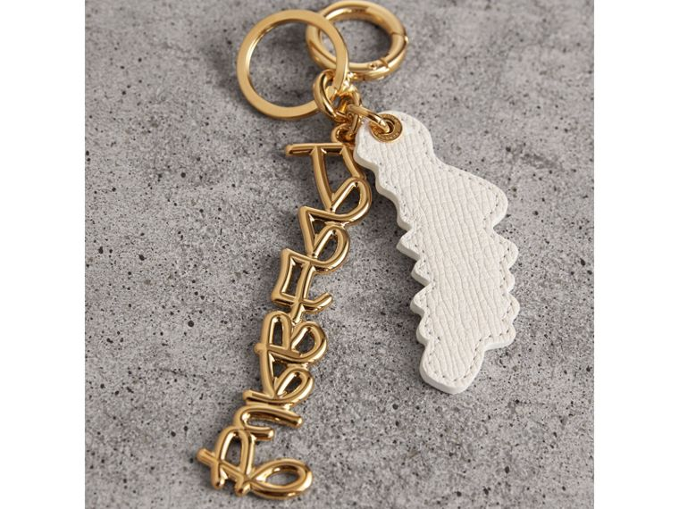 Doodle Motif Leather Key Charm in Light Gold - Women | Burberry - cell image 2