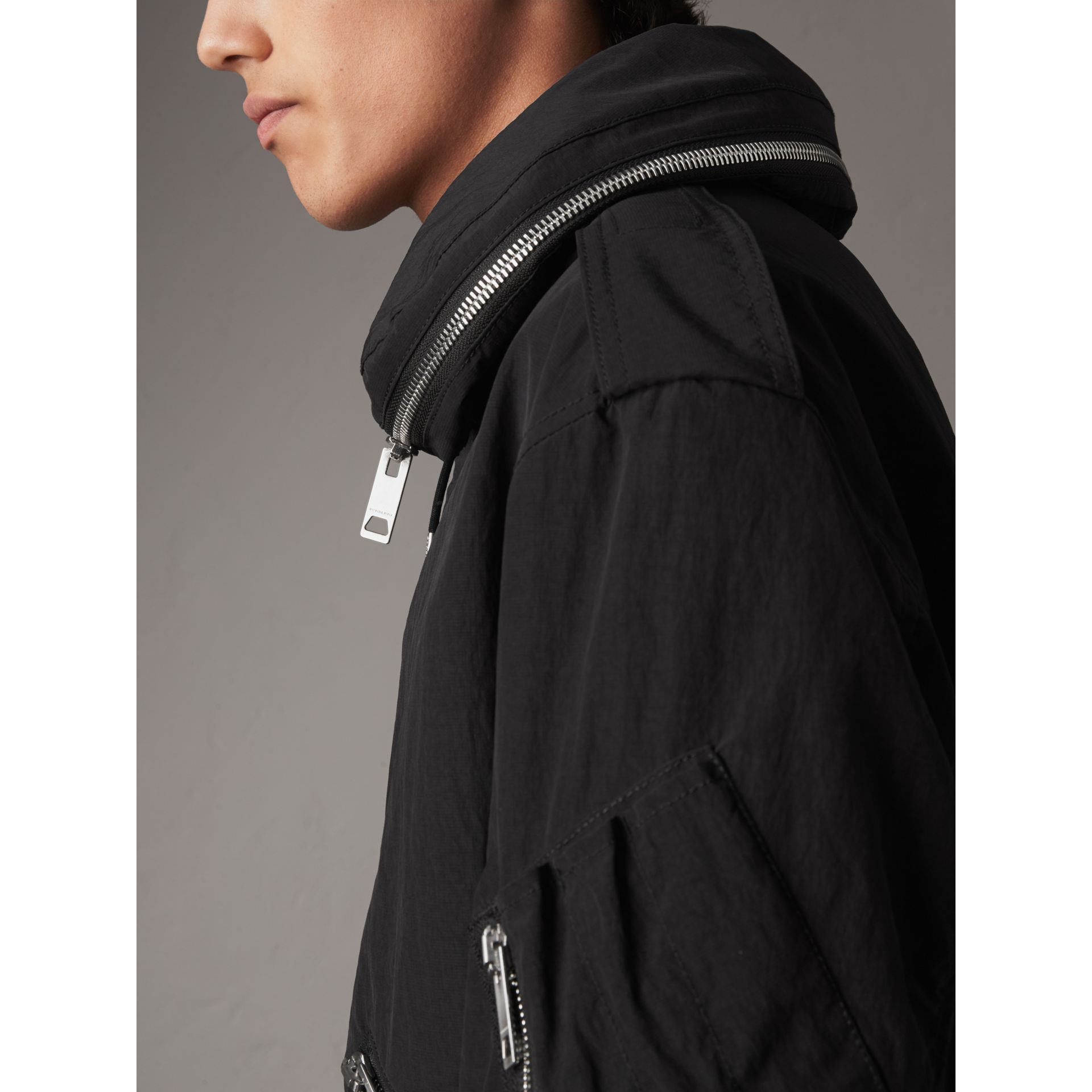 Rainproof Flyweight Jacket with Packaway Hood in Black - Men | Burberry - gallery image 2