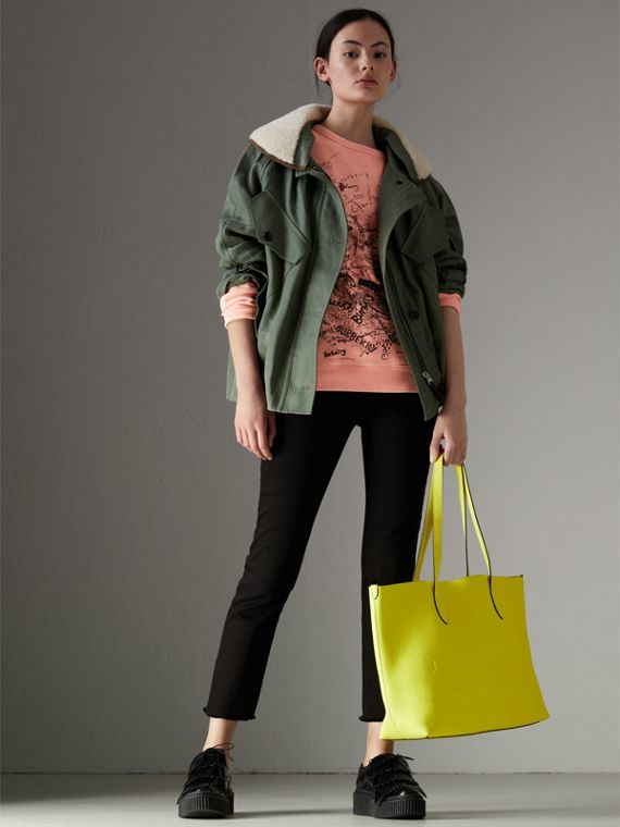 Embossed Leather Tote in Neon Yellow | Burberry - cell image 2