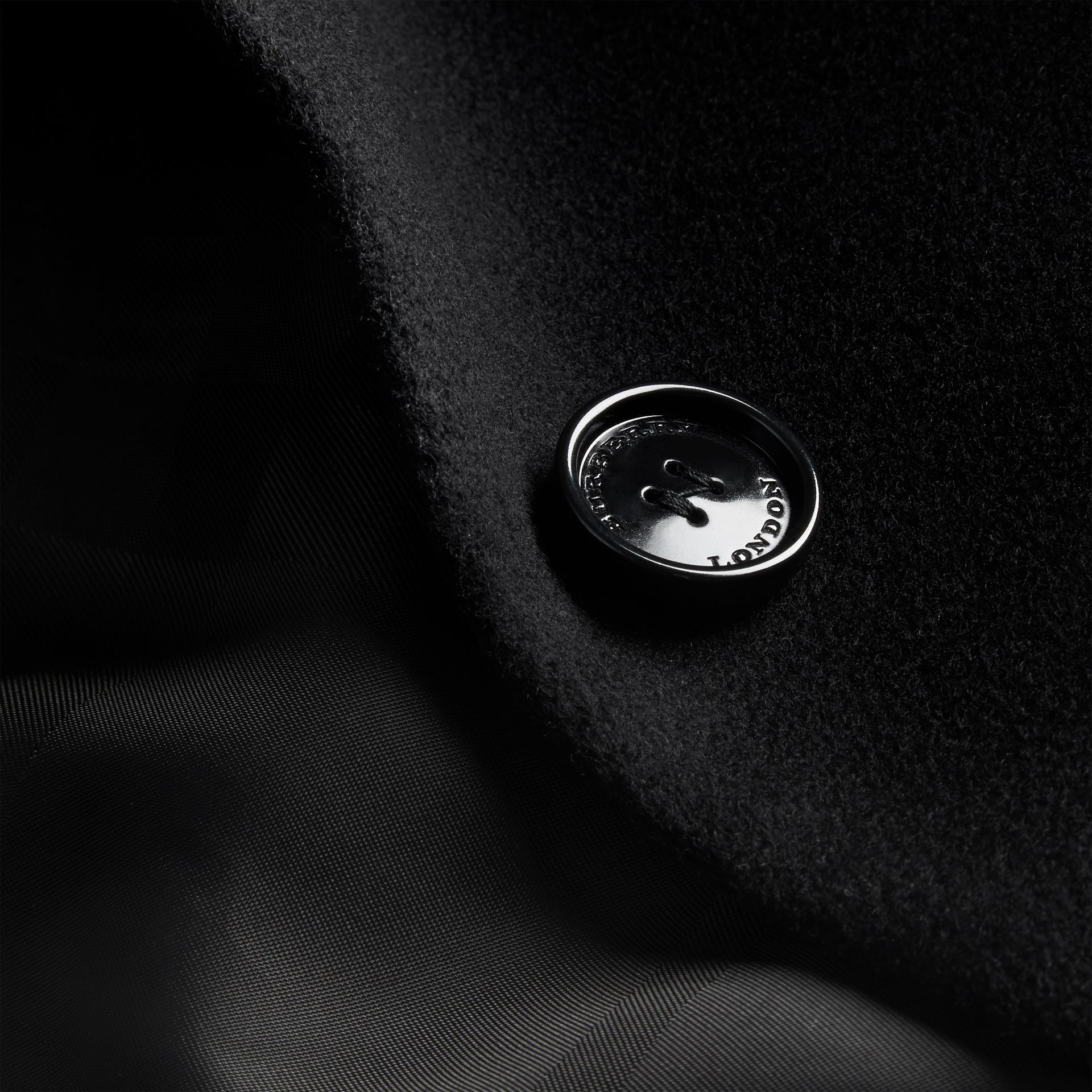 Black Tailored Wool Cashmere Coat Black - gallery image 2