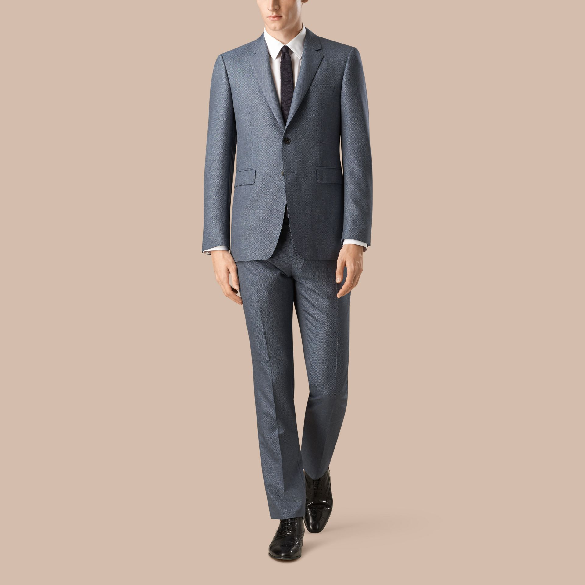 Steel blue Modern Fit Wool Silk Linen Half-canvas Suit - gallery image 1