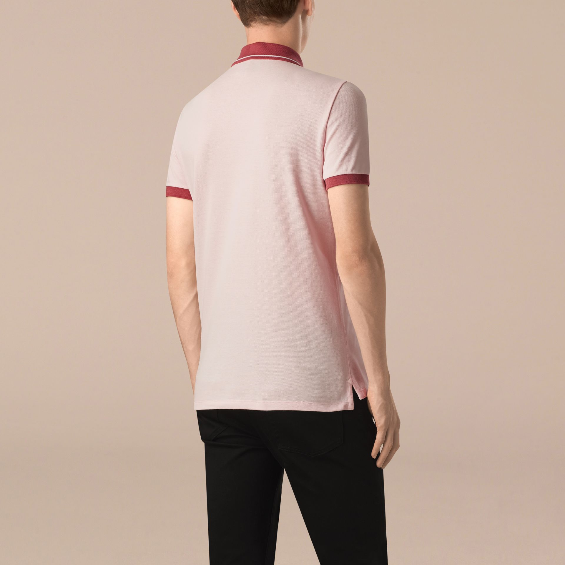 City pink/white Contrast Trim Cotton Piqué Polo Shirt City Pink/white - gallery image 2