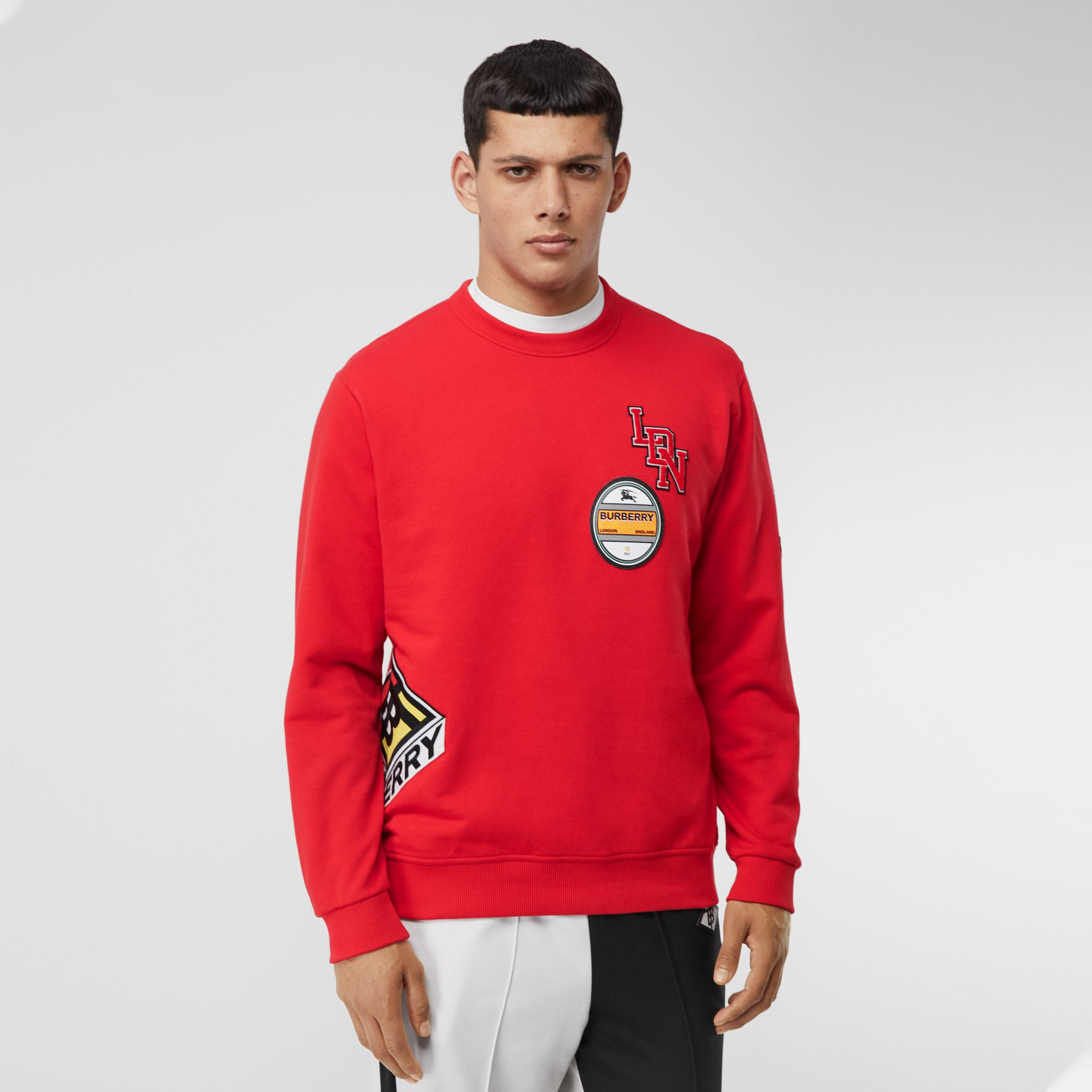 Logo Graphic Cotton Sweatshirt in Bright Red - Men | Burberry - gallery image 5