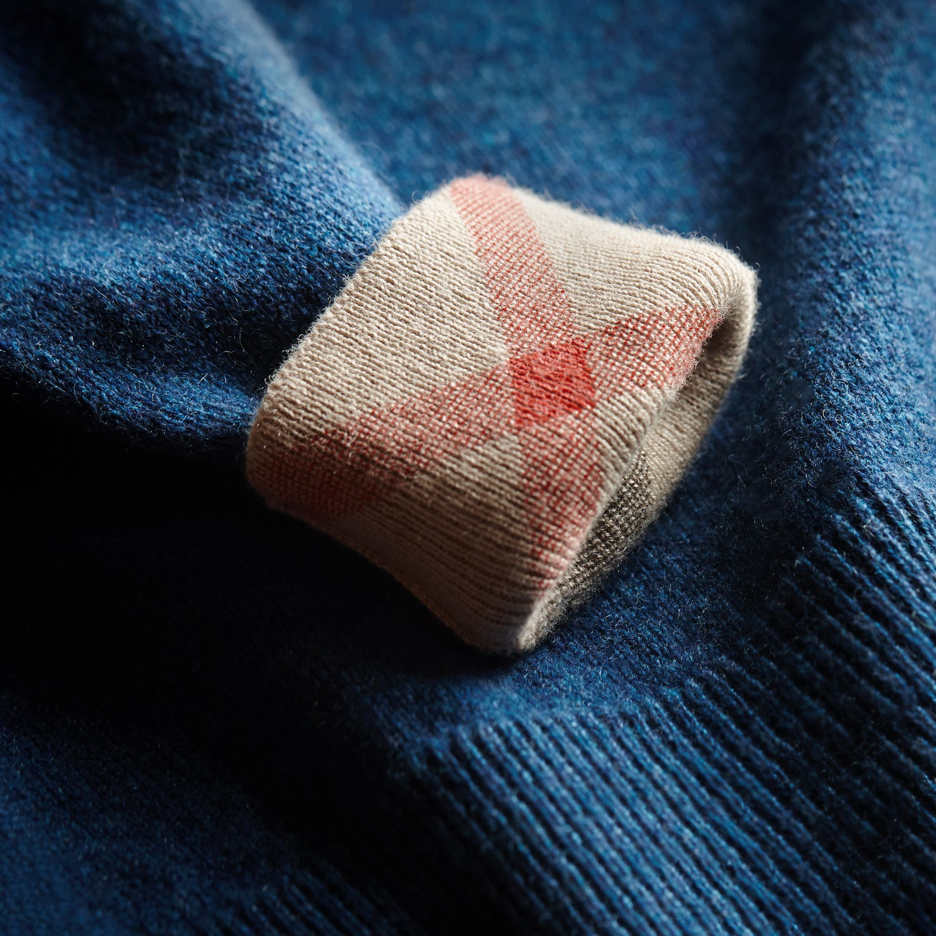 Check Detail Cashmere Sweater in Mineral Blue Melange | Burberry - gallery image 1