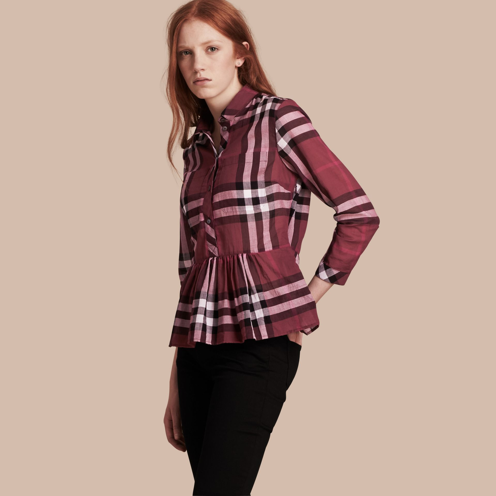 Magenta Check Cotton Peplum Shirt Magenta - gallery image 1
