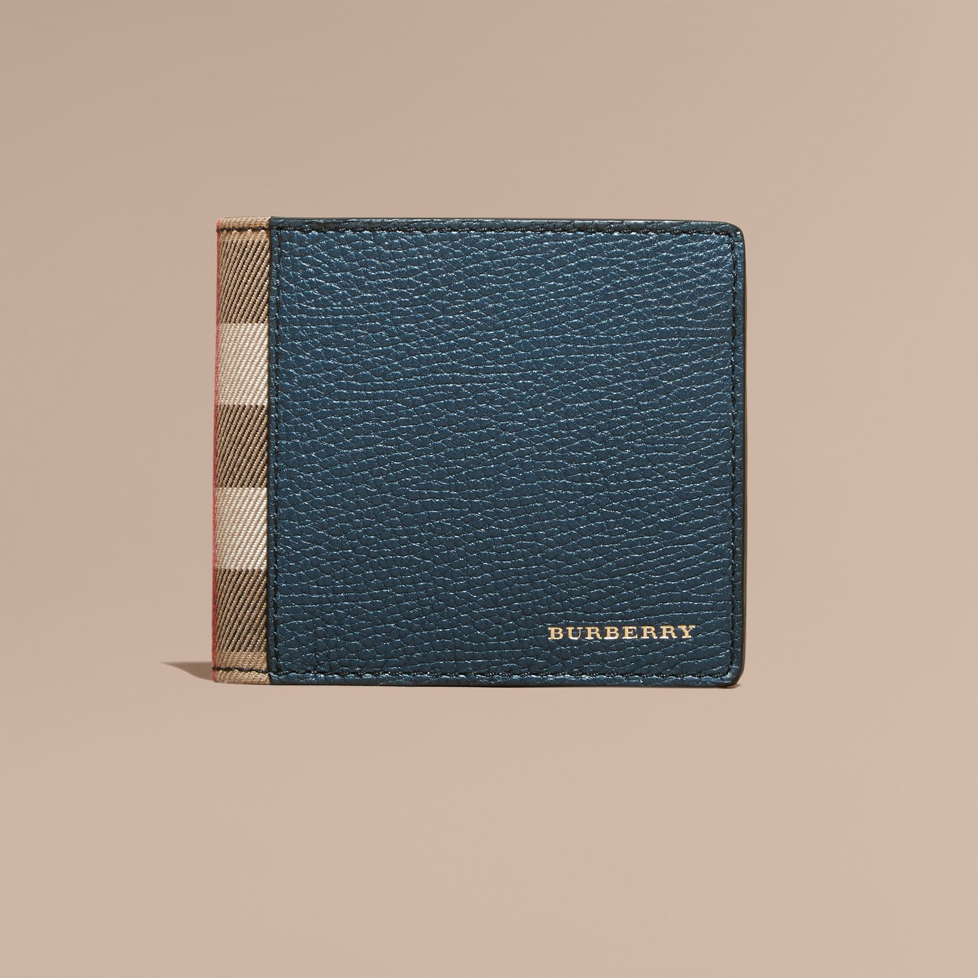 Leather and House Check International Bifold Wallet in Storm Blue | Burberry - gallery image 3