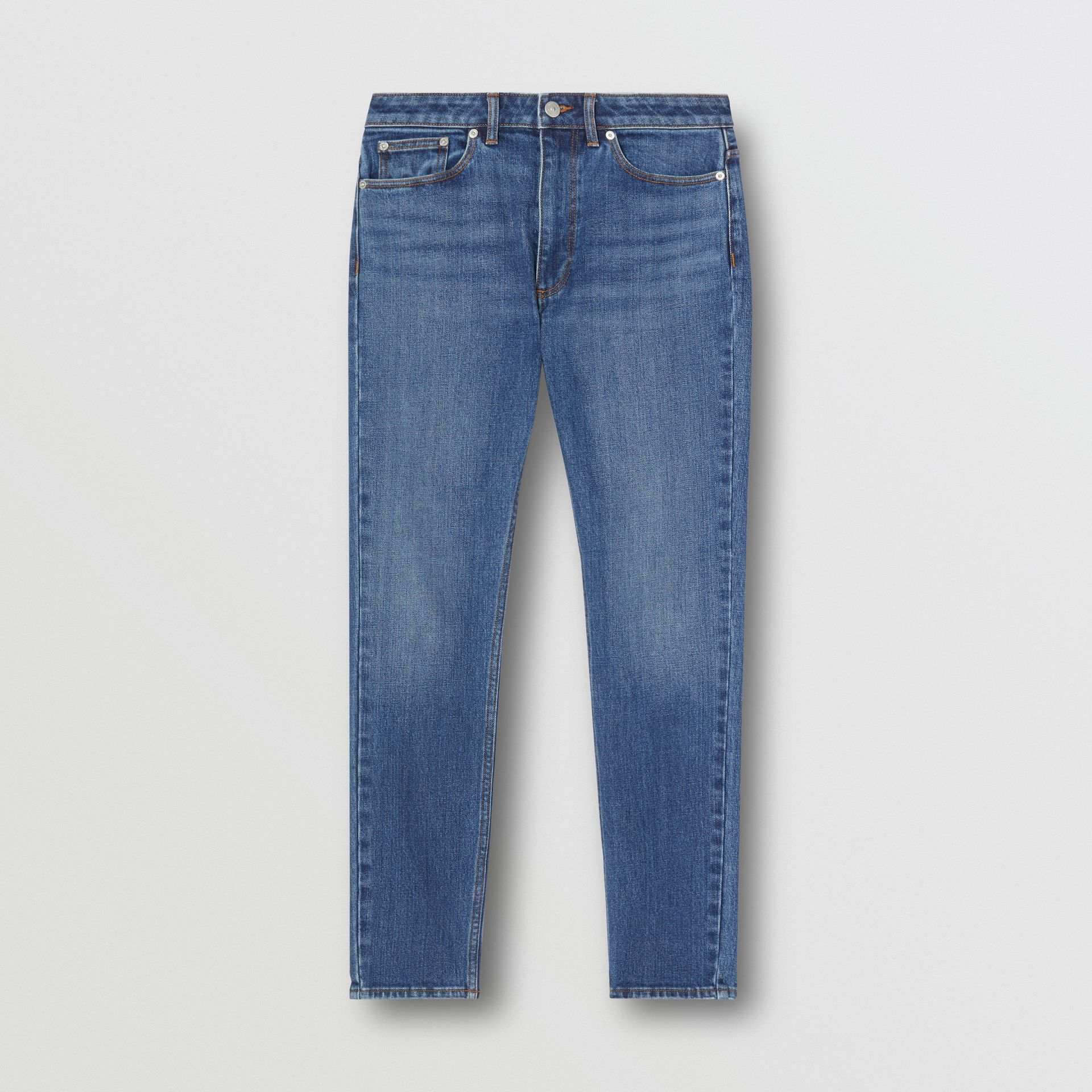 Skinny Fit Japanese Denim Jeans in Indigo Blue - Women | Burberry - gallery image 3