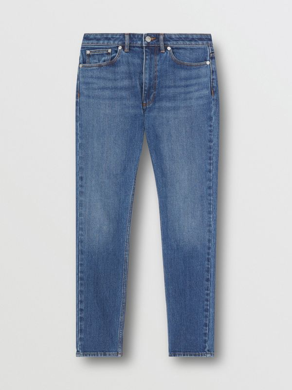Skinny Fit Japanese Denim Jeans in Indigo Blue - Women | Burberry - cell image 3