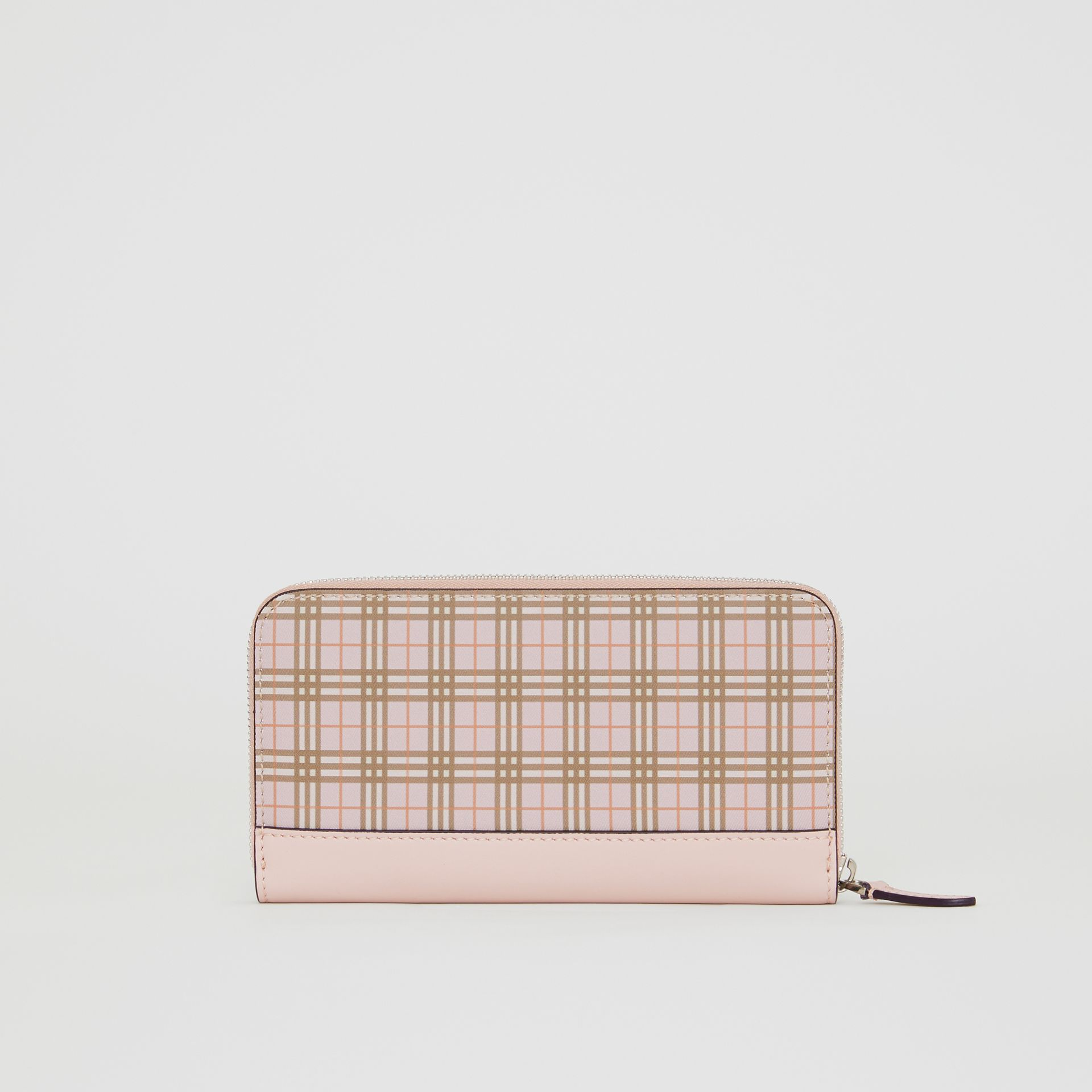 Small Scale Check and Leather Ziparound Wallet in Ice Pink - Women | Burberry - gallery image 5