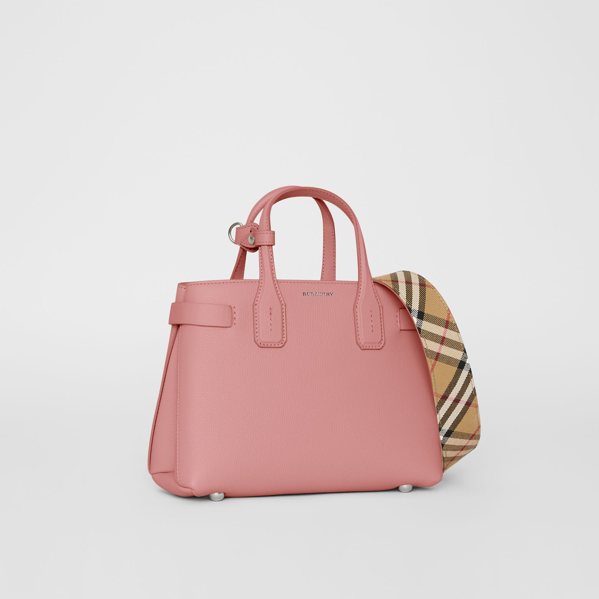 The Small Banner in Leather and Vintage Check in Dusty Rose - Women | Burberry - gallery image 0