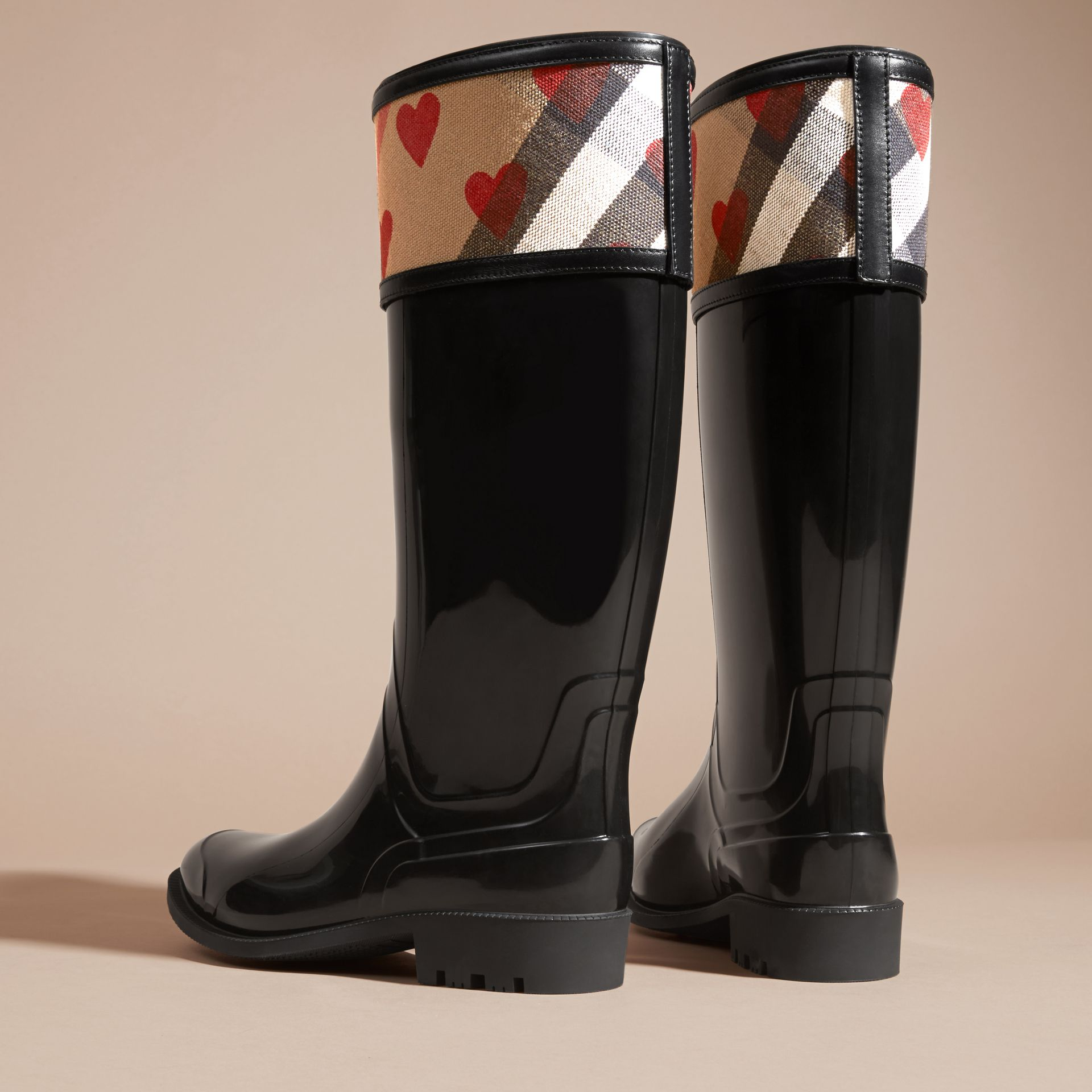 House check/parade red Heart and House Check Rain Boots - gallery image 4