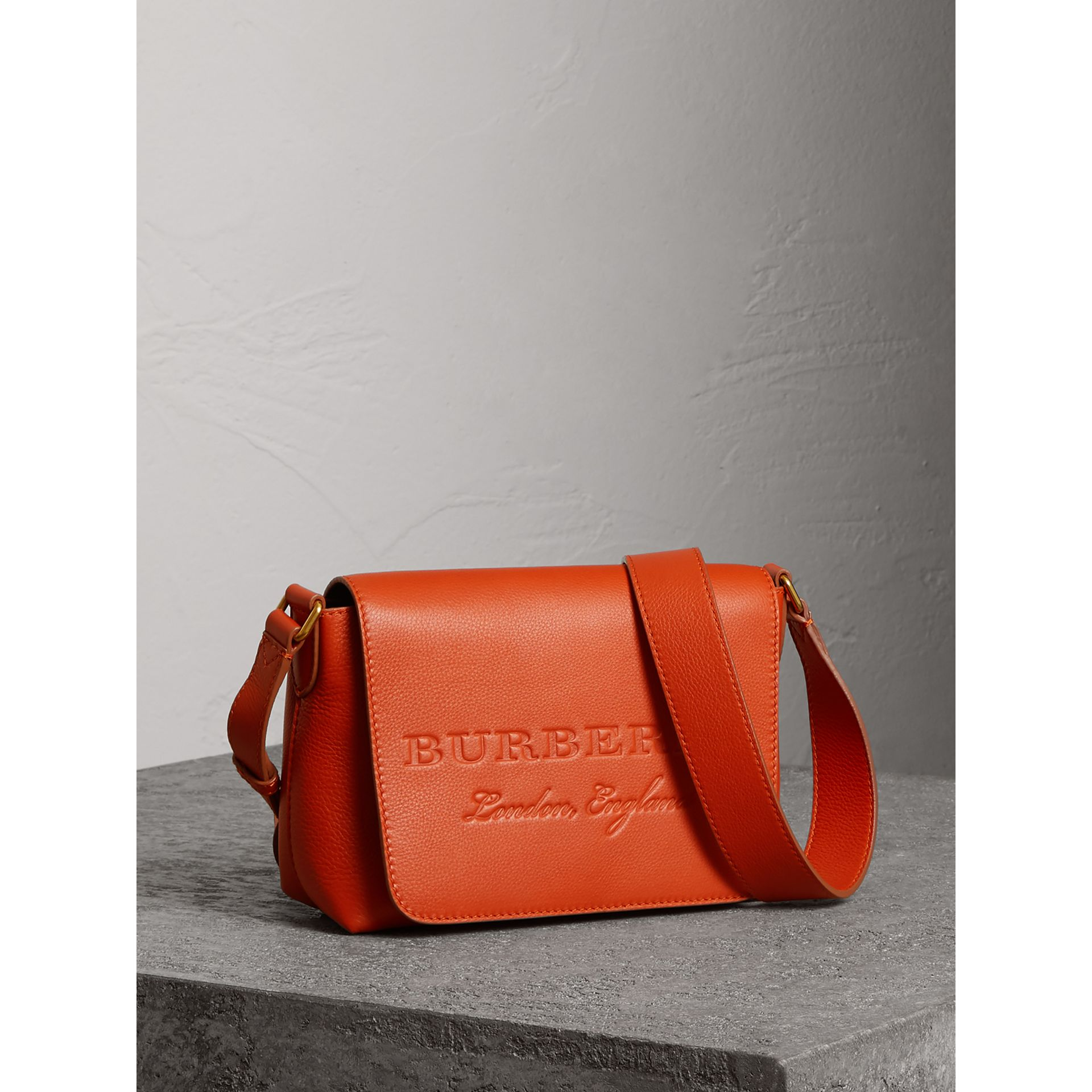 Small Embossed Leather Messenger Bag in Dark Clementine - Women | Burberry United States - gallery image 8