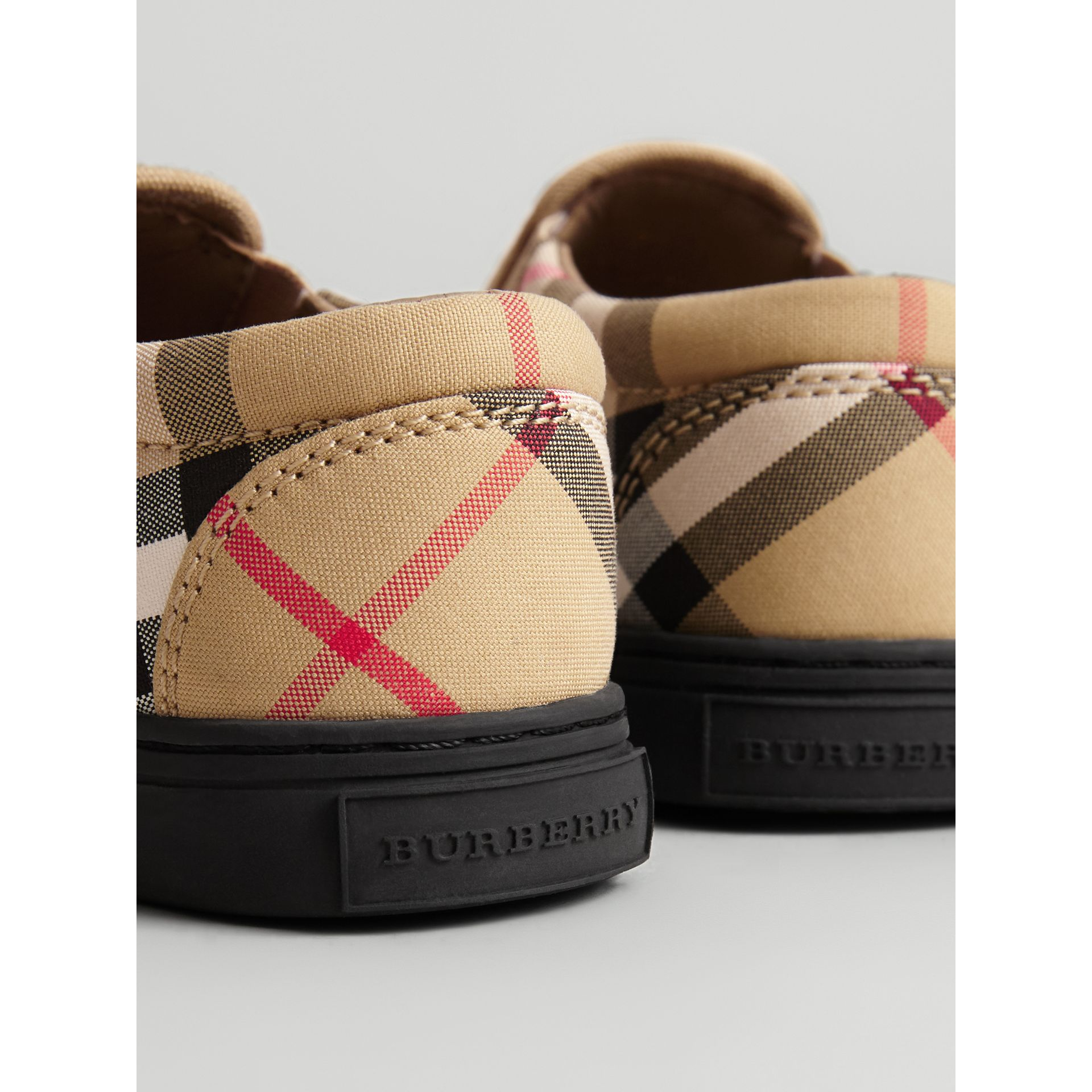 Vintage Check and Leather Slip-on Sneakers in Antique Yellow/black - Children | Burberry United Kingdom - gallery image 1