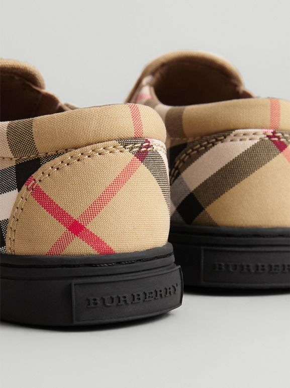 Vintage Check and Leather Slip-on Sneakers in Antique Yellow/black - Children | Burberry United Kingdom - cell image 1