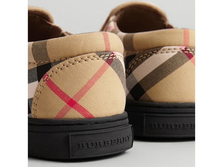 Vintage Check and Leather Slip-on Sneakers in Antique Yellow/black | Burberry Canada - cell image 1