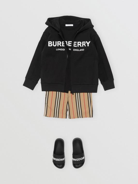 Veste à capuche en coton avec logo imprimé (Noir)