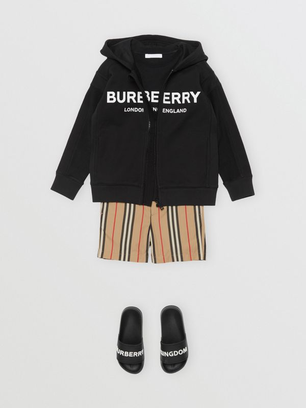 Logo Print Cotton Hooded Top in Black | Burberry - cell image 2