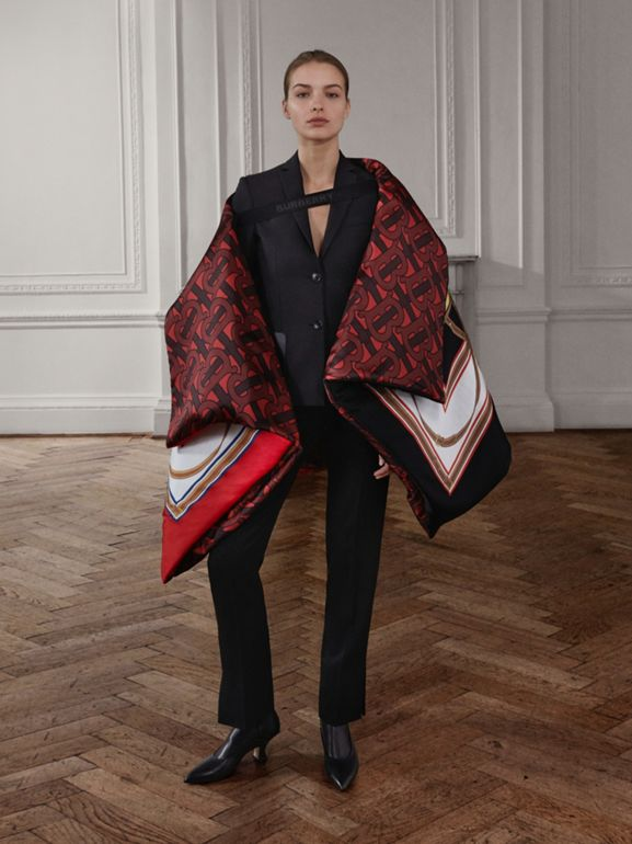Archive Scarf Print Silk Satin Oversized Puffer Cape in Crimson - Women | Burberry United Kingdom - cell image 1