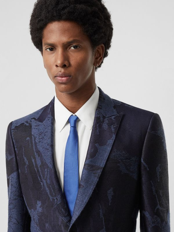 Modern Cut Check Detail Silk Tie in Bright Cobalt - Men | Burberry United Kingdom - cell image 2