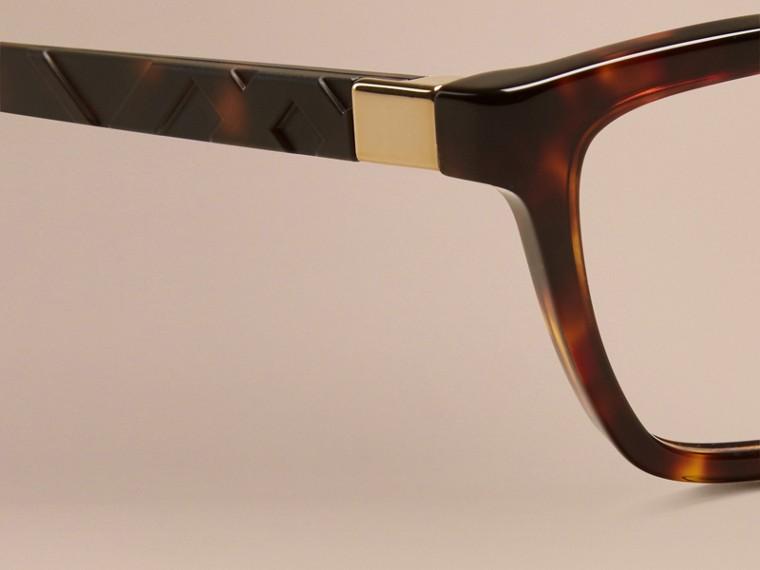 Écaille de tortue Monture œil de chat pour lunettes de vue à motif check Écaille  Tortue - cell image 1