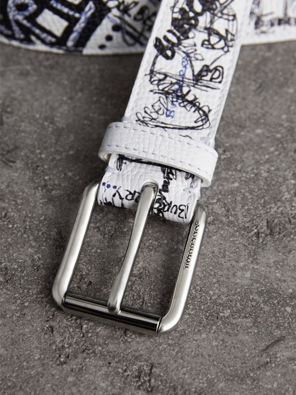 Doodle Print Leather Belt in White - Men | Burberry - cell image 1