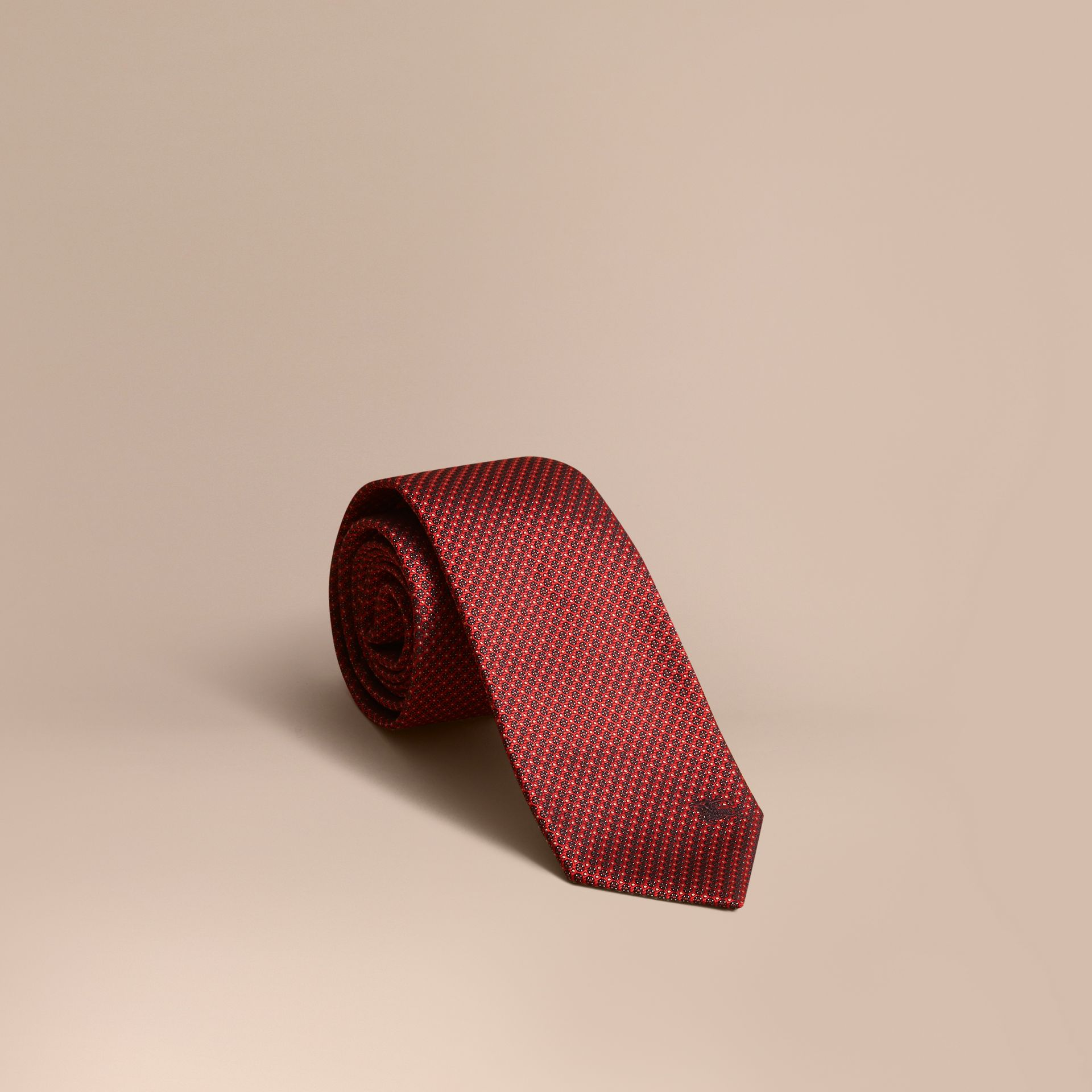 Modern Cut Patterned Silk Tie Parade Red - gallery image 1