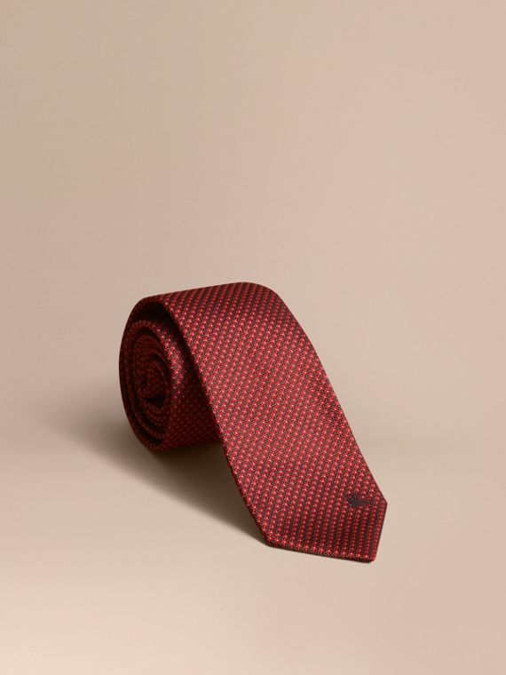 Modern Cut Patterned Silk Tie in Parade Red - Men | Burberry
