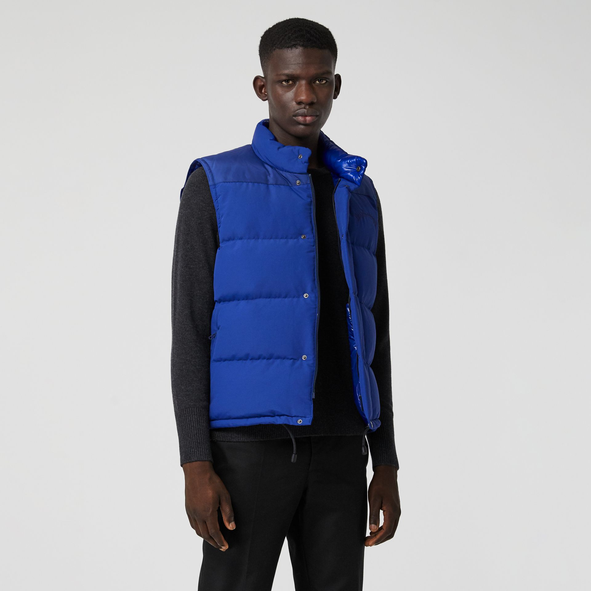 Embroidered Archive Logo Down-filled Gilet in Bright Blue - Men | Burberry United Kingdom - gallery image 4