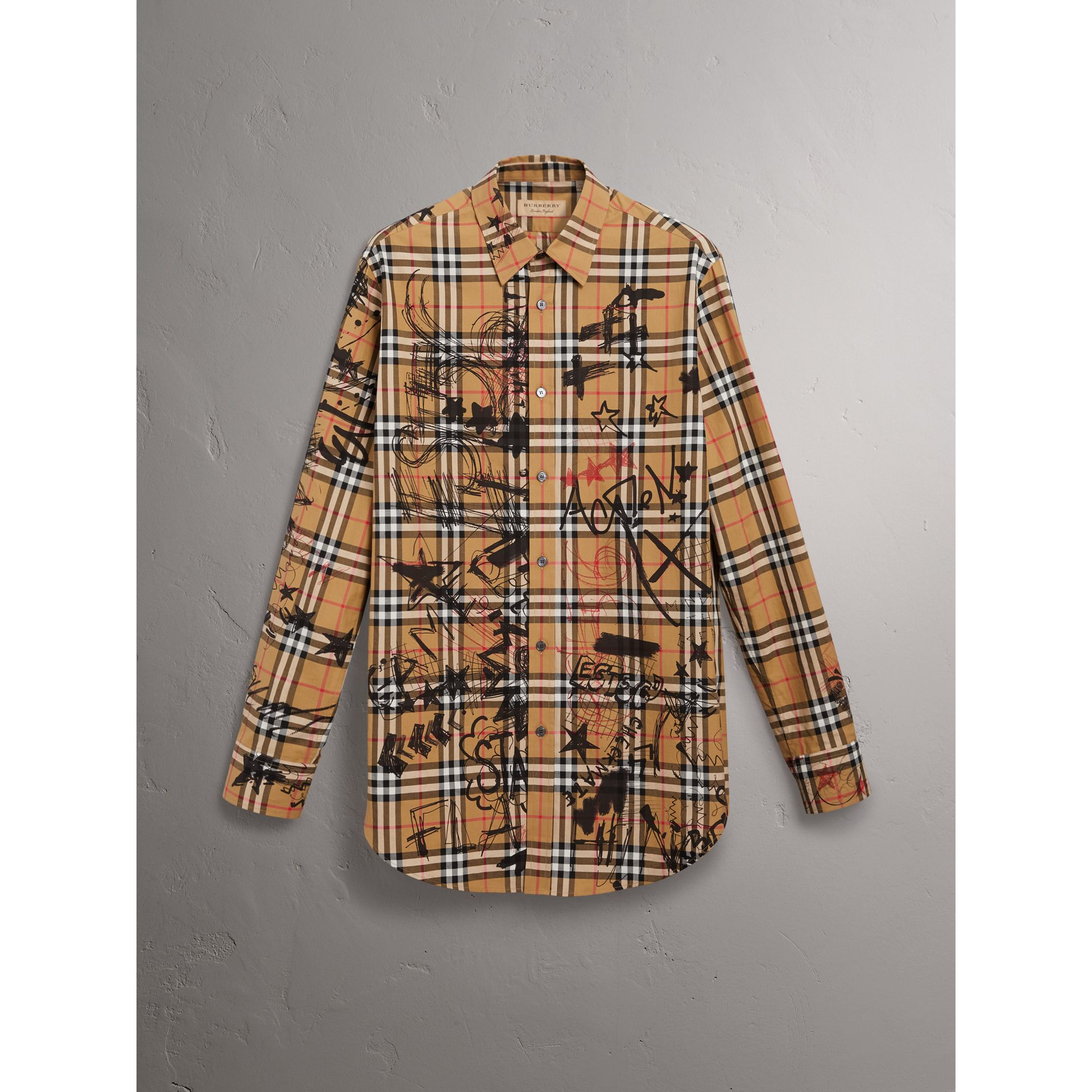 Burberry x Kris Wu Vintage Check Cotton Shirt in Antique Yellow - Men | Burberry United Kingdom - gallery image 3